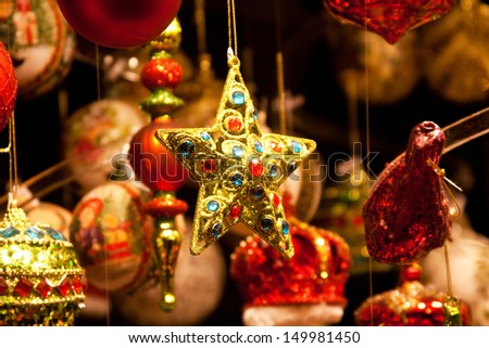 Christmas decorations on the market in Vienna - stock photo