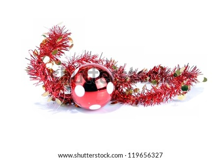 Christmas decorations on white background, soft shadows