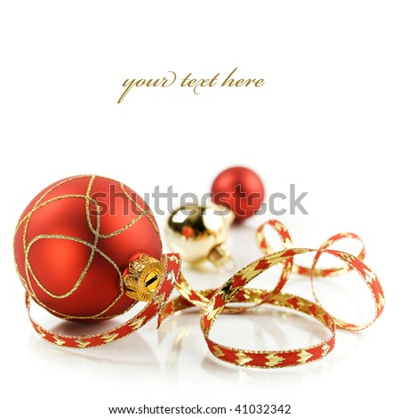 Christmas decorations on white background (with sample text) - stock photo