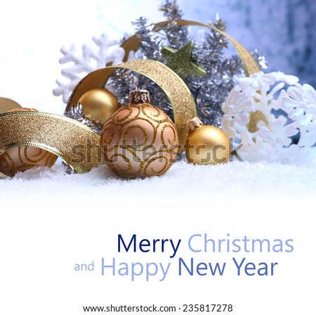 Christmas decorations on winter background - stock photo