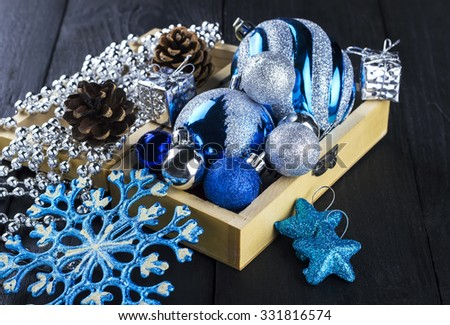 Christmas decorations on wooden a background - stock photo