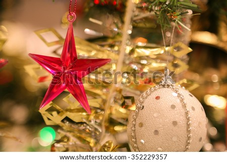 christmas decorations or christmas tree light prepare for celebrate day, abstract Bokeh light good use for background, christmas background and empty area for text.