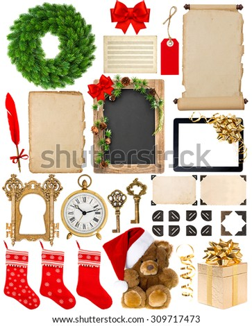 Christmas decorations, ornaments and gifts. Old book pages, paper, wreath, scroll, blackboard, corner and photo frame isolated on white background