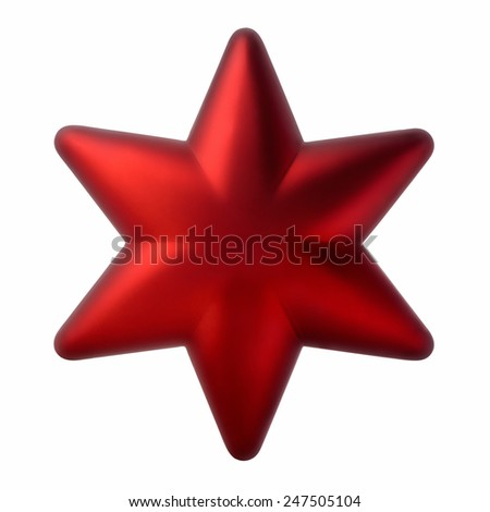 Christmas decorations: red six-pointed star, Christmas tree decoration, isolated on white background - stock photo