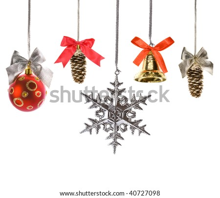 Christmas decorations set with bows isolated on white background - stock photo