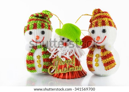 christmas decorations, snowman on white background