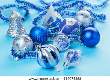 Christmas decorations still life in blue tones - stock photo