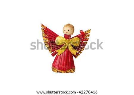 Christmas decorations - straw red angel isolated on white background - stock photo