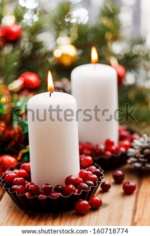 Christmas decorations with a candles - stock photo