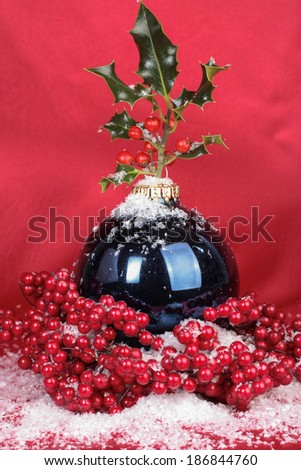 Christmas decorations with baubbles detail - stock photo