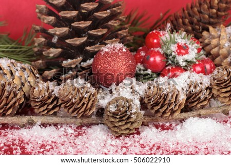 Christmas decorations with baubles detail