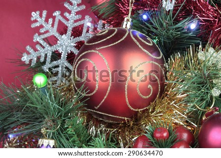 Christmas decorations with bubbles detail - stock photo