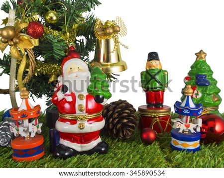 Christmas decorations with Santa Claus isolated on white background with clipping path - stock photo