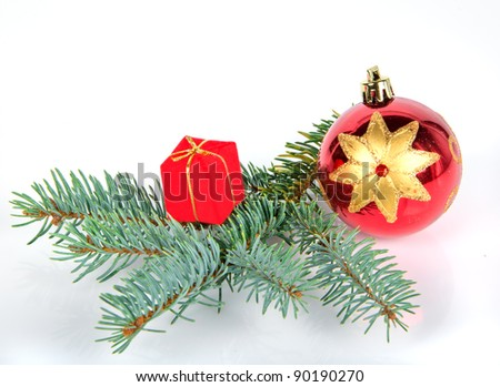 christmas decorations with spruce on white background