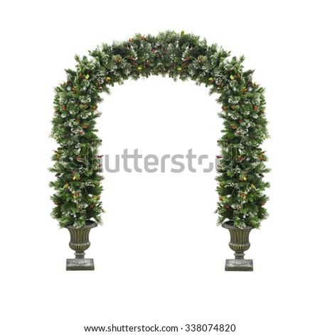 Christmas decorative arch isolated on a white - stock photo