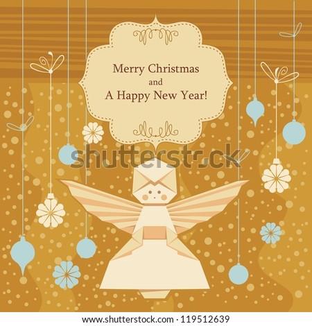 Christmas Decorative Background Origami Angel Seasonal Stock