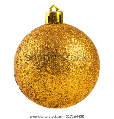 christmas decorative ball cut out from white background - stock photo