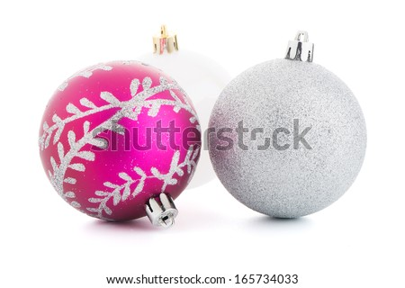 christmas decorative balls on white background.