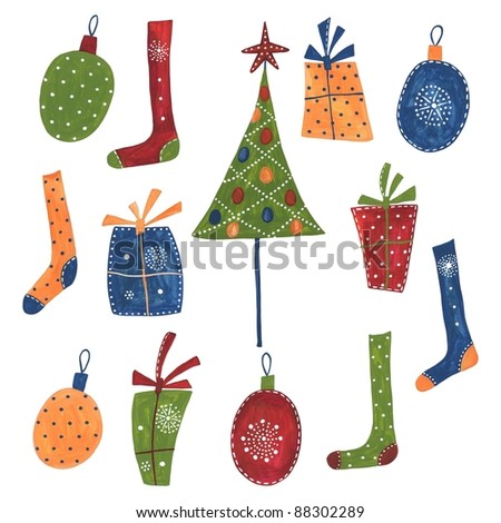 Christmas Decorative Elements - stock photo