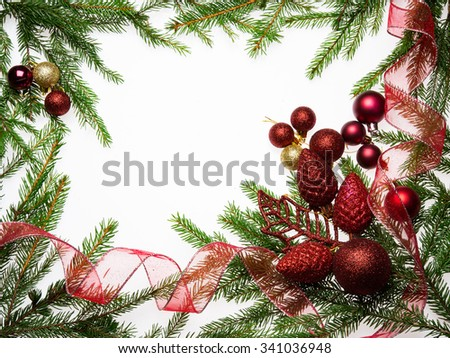 Christmas decorative frame border with fir tree and balls
