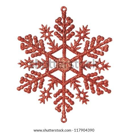 Christmas decorative snowflake. On a white background. - stock photo