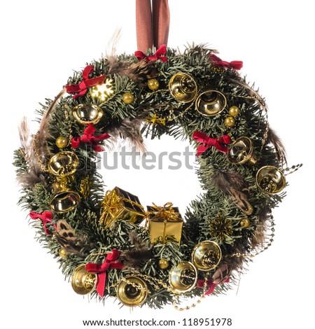 Christmas decorative wreath over white background - stock photo