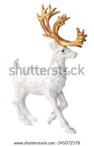 Christmas deer decorations isolated on whitre background - stock photo