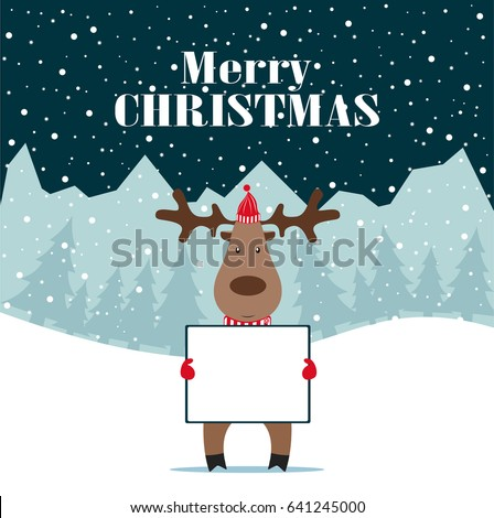 Christmas deer, happy winter xmas holiday