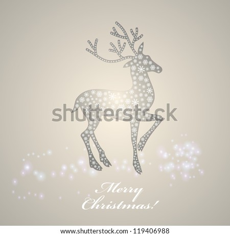 Christmas deer. Postcard for Christmas decorated snowflakes. - stock photo