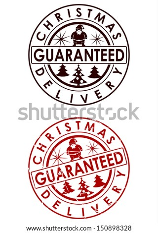 Christmas delivery rubber stamp on a white background. - stock photo