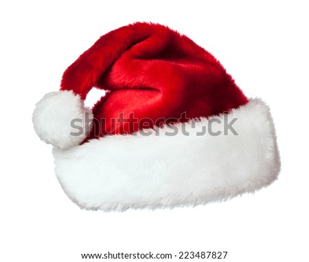 Christmas design concept background - Santa Claus hat isolated on white background