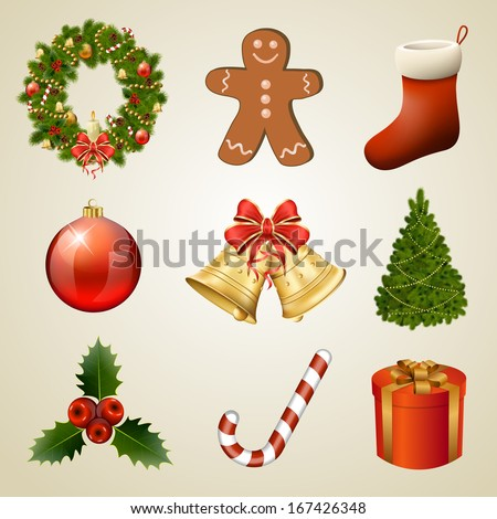 Christmas design elements and icons. Xmas decorations set. Raster copy of vector illustration - stock photo