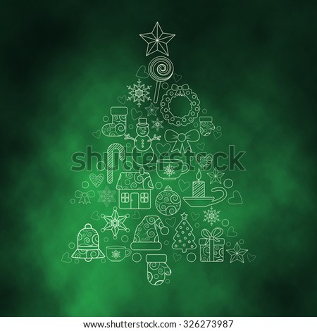 christmas design elements in the form of tree