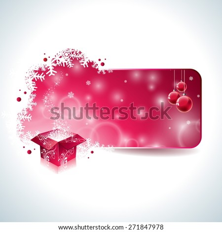 Christmas design with magic gift box and red glass ball on clear background. JPG version. - stock photo