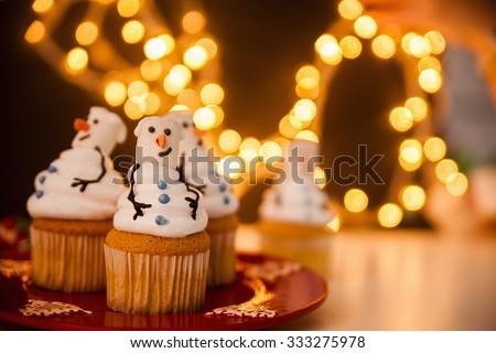 Christmas Dessert. Snowman Cupcakes - stock photo