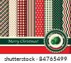 Christmas digital scrapbooking paper swatches in retro tones with ribbon and Christmas baubles. Also available in vector format. - stock photo