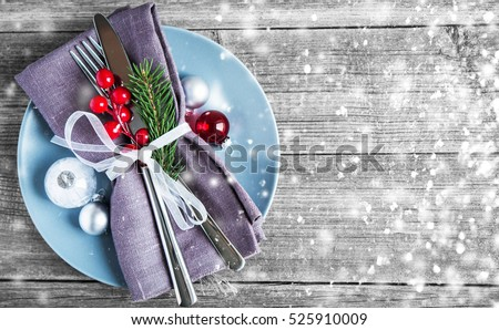 Christmas dinner plate decoration with xmas ornaments on old wood background. Merry christmas card. & Christmas Dinner Plate Decoration Xmas Ornaments Stock Photo \u0026 Image ...