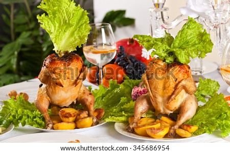 Christmas dinner with smoked chicken. Holidays and celebration concept - stock photo
