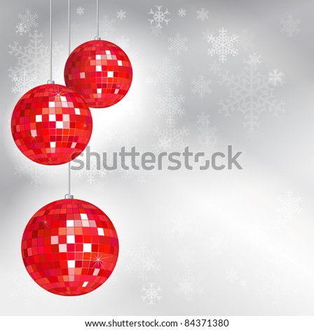 Christmas disco balls with snowflake background and space for your text. Also available in vector format. - stock photo