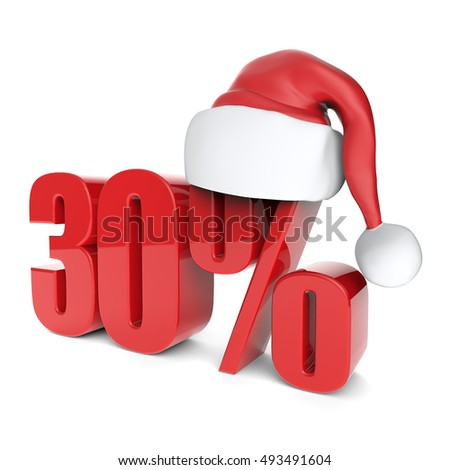 christmas discount sale collection with Santa's hat - 30%, 3D rendering