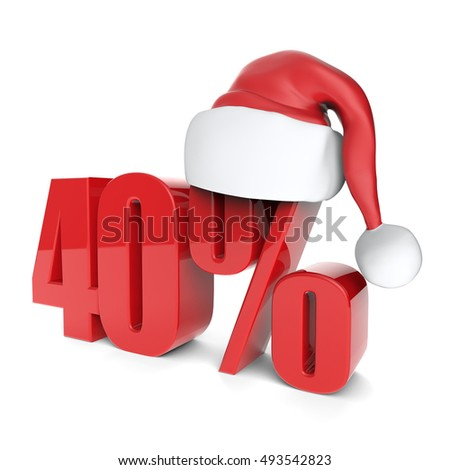 christmas discount sale collection with Santa's hat - 40%, 3D rendering