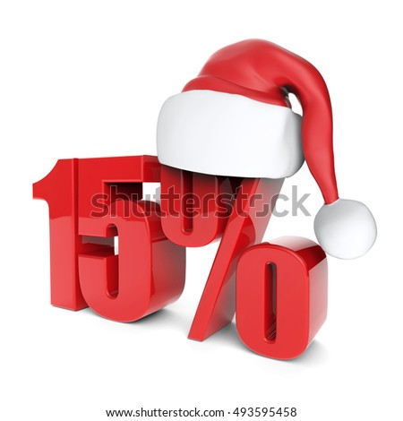 christmas discount sale collection with Santa's hat - 15%, 3D rendering