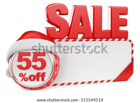 Christmas discounts on a white background. 3d render illustration. Fifty five.