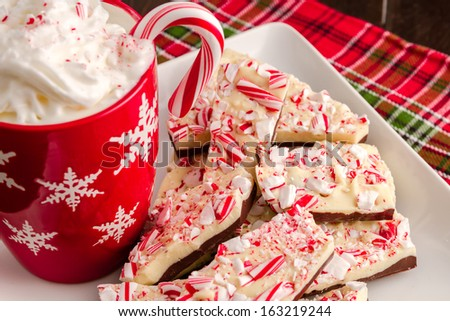 Christmas display of traditional chocolate peppermint bark candy and cup of hot chocolate