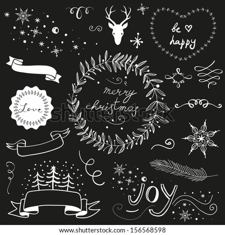 Christmas doodle chalkboard graphic set: deer head, hearts, laurel, wreaths, snowflakes, ribbons and labels. - stock photo