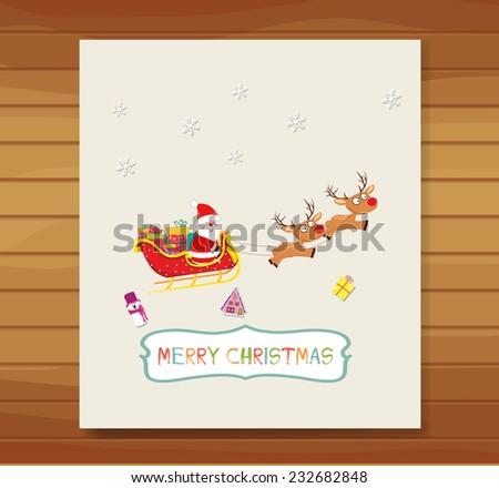 christmas doodle frame - stock photo