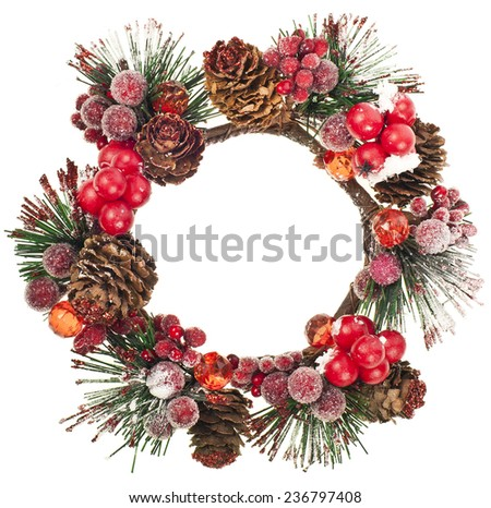 Christmas door decoration wreath  isolated on a white background - stock photo
