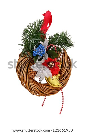Christmas door decorations isolated on white - stock photo