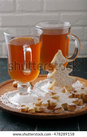 Christmas drink and gingerbread cookies, food and beverage
