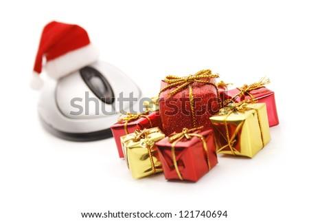 Christmas e-commerce scene isolated on white background. - stock photo